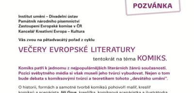 POZVÁNKA: Večery evropské literatury